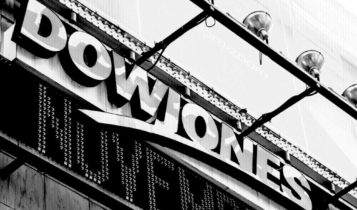 the dow jones building in black and white