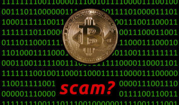 binary numbers on the background, and a bitcoin in front and the word scam? written below