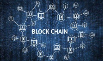 illustrated concept of blockchain technology with black and blue background