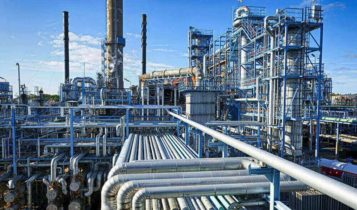a shot of pipes of an oil refinary