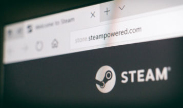 steampowered on the url bar and the logo of steam inside the website