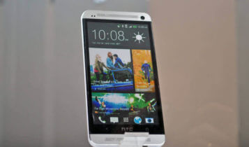 a smartphone from HTC on a display