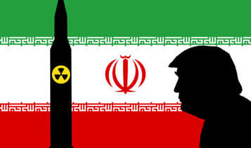 silhouettes of a donald trump and a missle with a nuclear symbol as the flag of iran on the background
