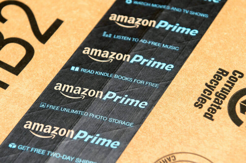 a tape of a box has the logo of amazon prime