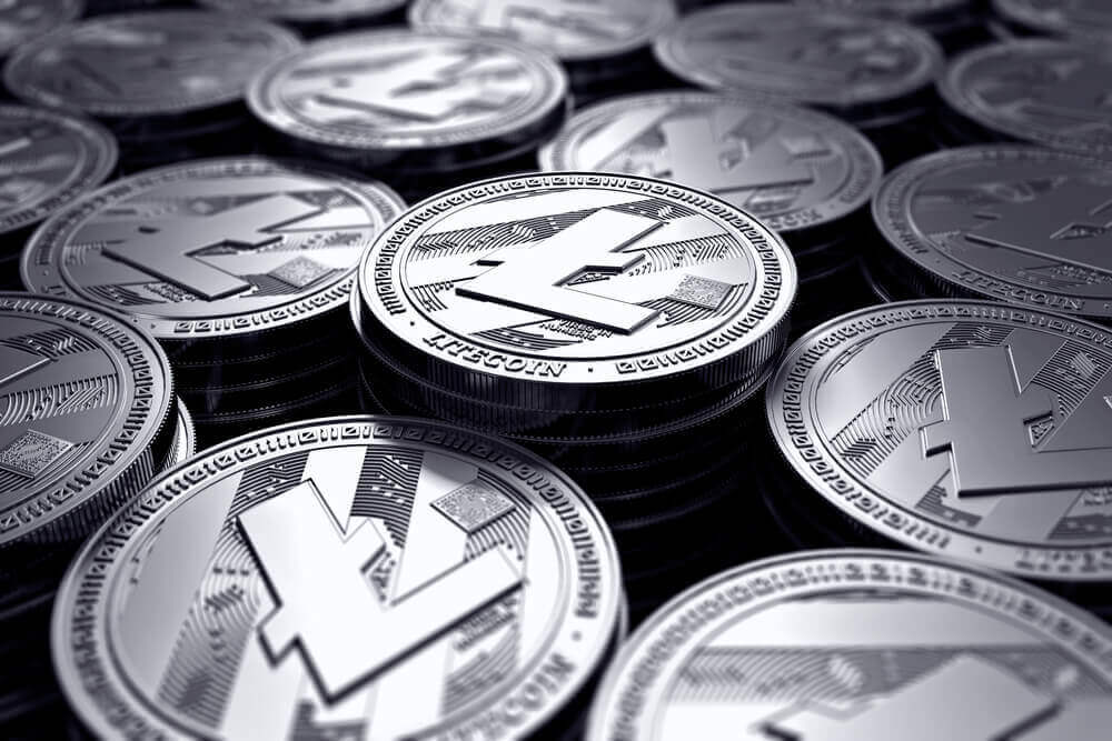 Litecoin 3D coins laid out in a flat surface