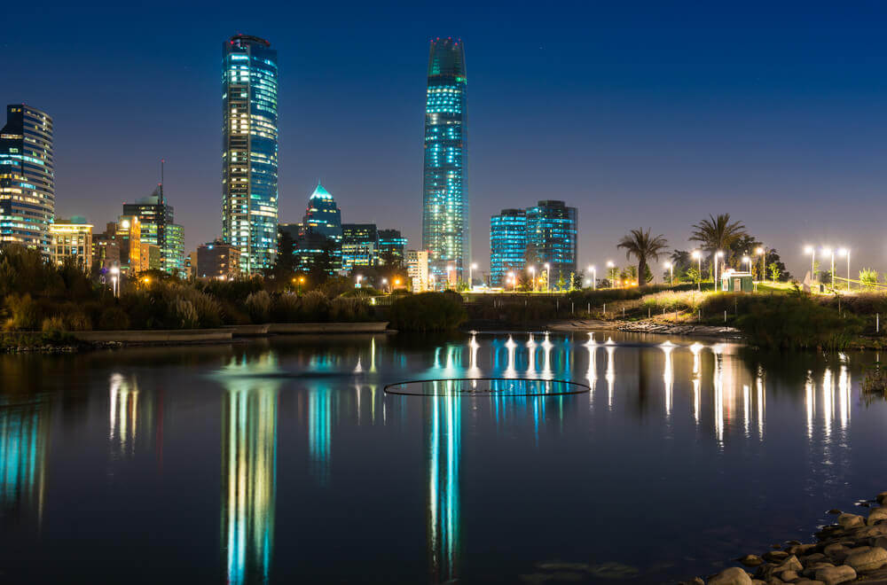 a night skyline view of Santiago in Chile