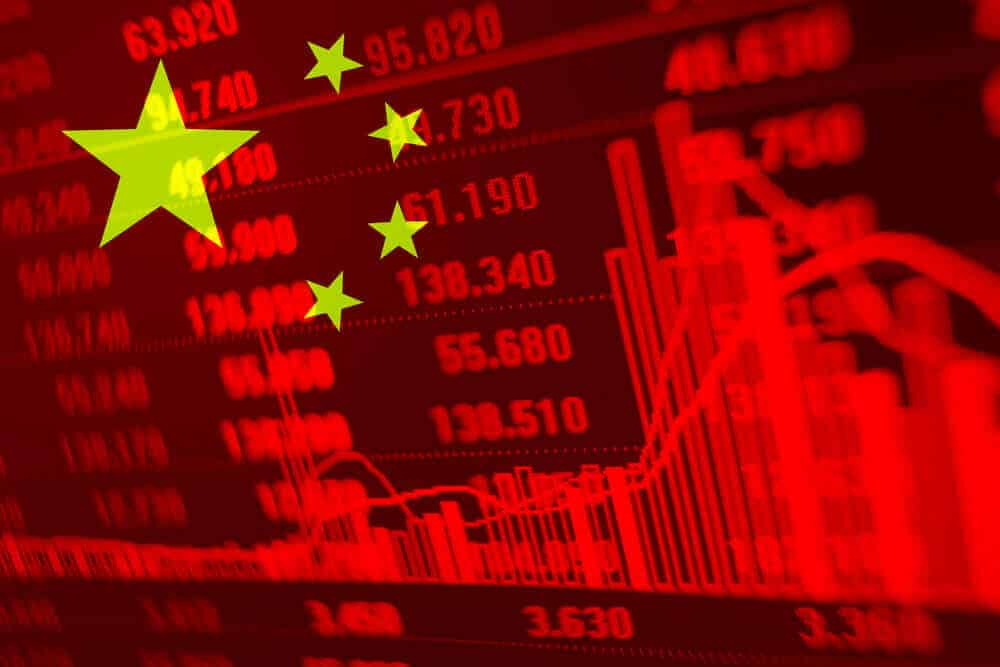 China stocks quotes and charts on the background