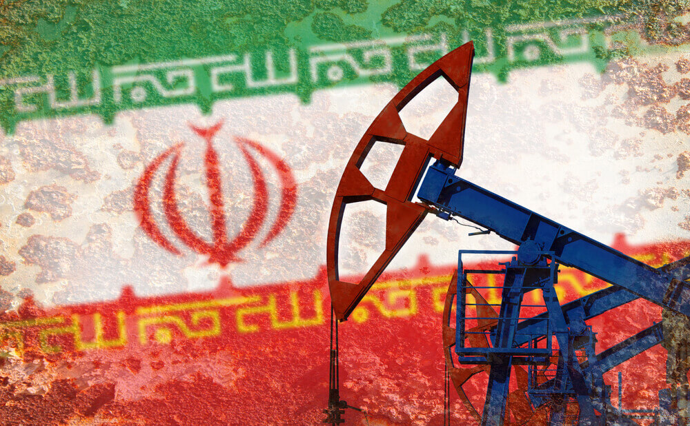 the flag of iran on the background and an oil industrial machine on the front