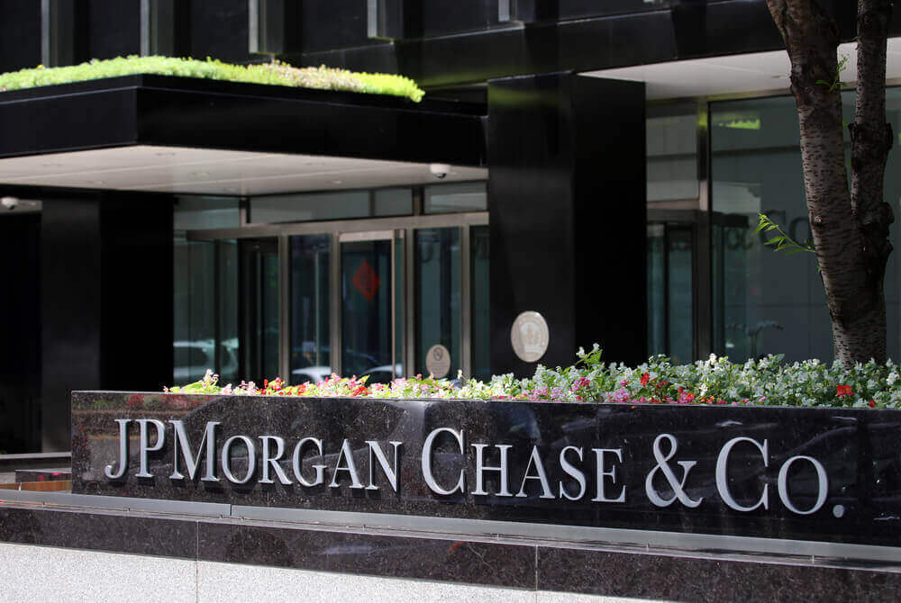 JPMorgan Chase & Co spelled out on a wall in front of a building