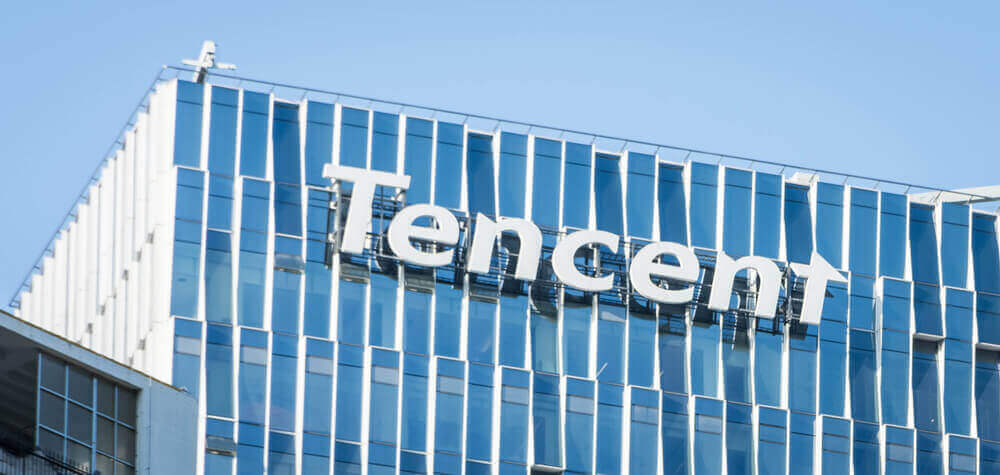 a building with the logo of Tencent on it
