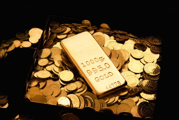 Finance Brokerage – Gold spot price: golden bar and coins for gold spot price concept