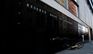 Finance Brokerage-Economic Development: underhand shot of the Reserve Bank of Australia front building.