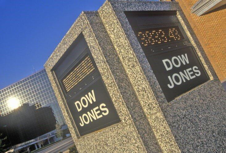 Finance Brokerage -Stock Exchanges: outside shot of a Dow Jones bulletin