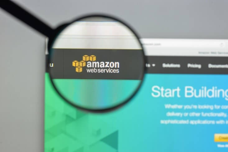 Finance Brokerage-Amazon Web Services: a magnifying glass on top of AWS website