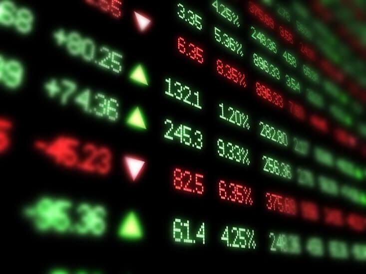 Finance Brokerage -Asian Market: digital numbers showing stock movement on a digital screen