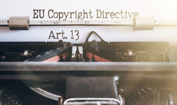 Finance Brokerage-Copyrights: EU Copyright Directive, Art. 13 typed on a paper with a typewriter