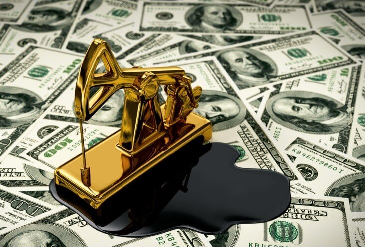 Finance Brokerage-Futures Trading: miniature oil pump with oil spill below on top of a dollar banknotes