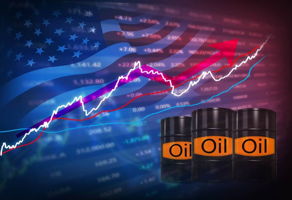 Finance Brokerage-Oil Inventory Report: concept, three oil barrels marked oil with graphs on the background