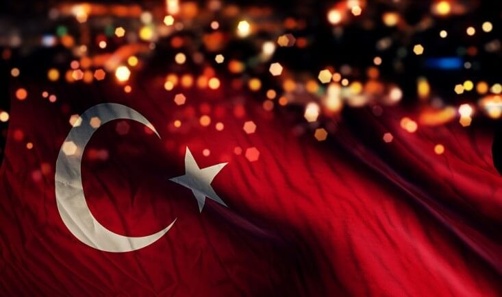 Finance Brokerage-Trade Agreement: Turkish flag with bokeh on the background