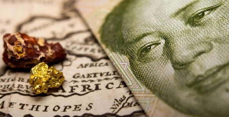Import Tariffs – Chinese bill on top of a map, with gold and bronze ore – Finance Brokerage