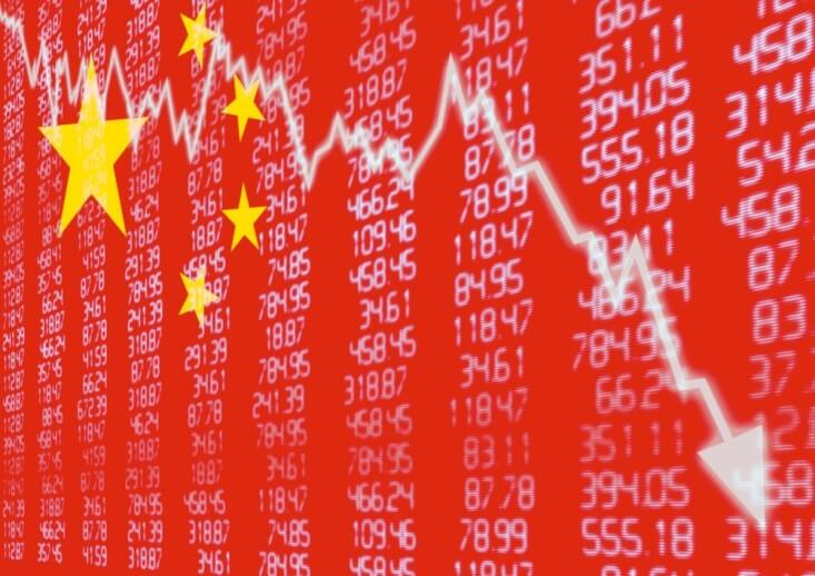 China's debt increased dramatically, Stock Exchanges – Chart showing China flag with graphs of the stock market – Finance Brokerage