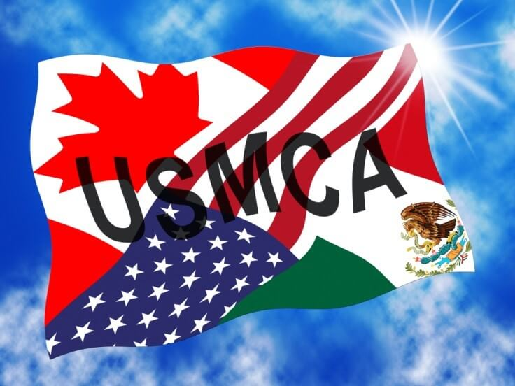 USMCA – the flags of the US, Mexico, and Canada – Finance Brokerage