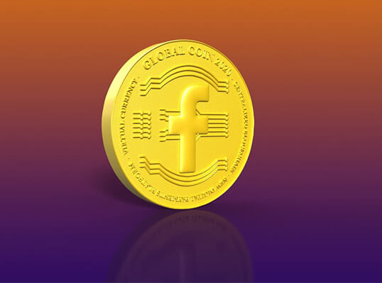 Virtual currency – facebook logo inside a cryptocurrency coin rendering – Finance Brokerage