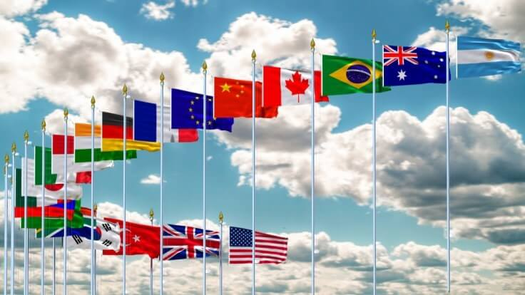 G20 Summit – the flags of the group of 20 leading economies – Finance Brokerage
