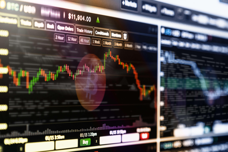 bitcoin chart on a monitor