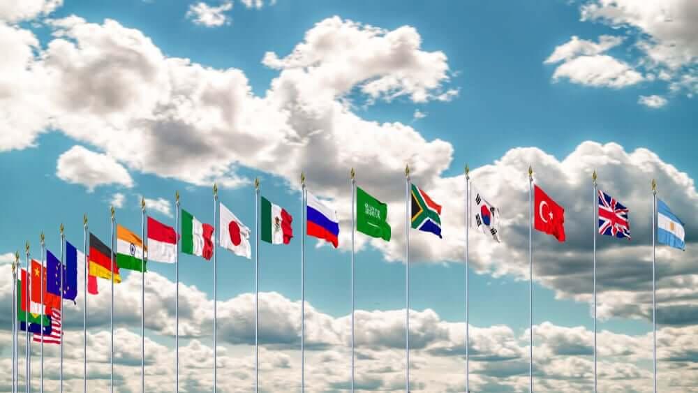 G20 flag summit Silk waving flags countries.