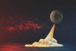 bitcoin rocket flying