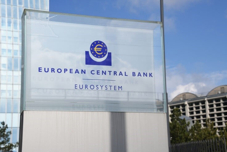 Finance Brokerage – Sign at the entrance of new European Central Bank headquarters in Frankfurt, Germany.