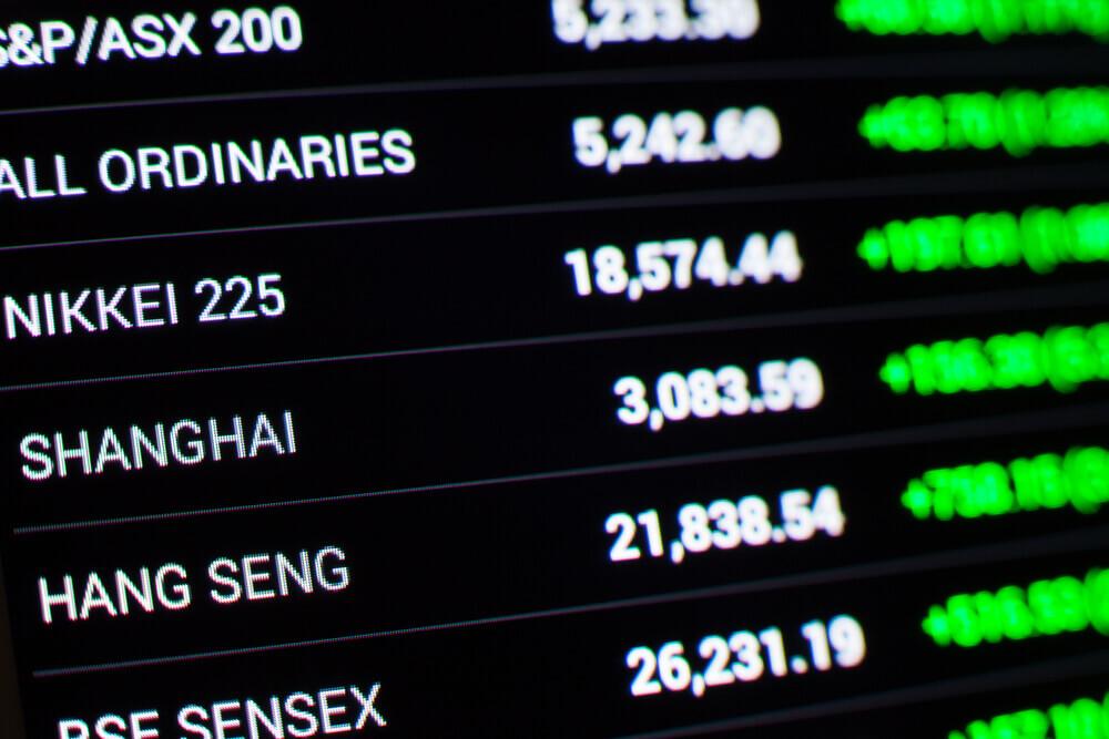 Finance Brokerage – Asian market: Stock market data on the LED display.