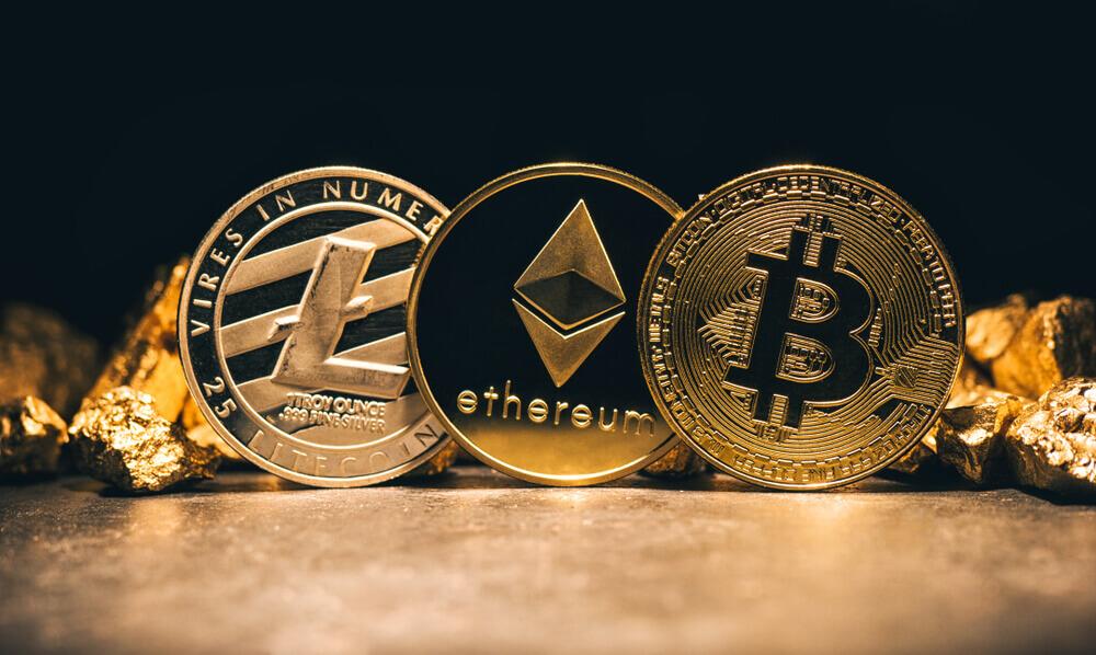 Finance Brokerage – Digital Coins: Golden cryptocurrencys Bitcoin, Ethereum, Litecoin.