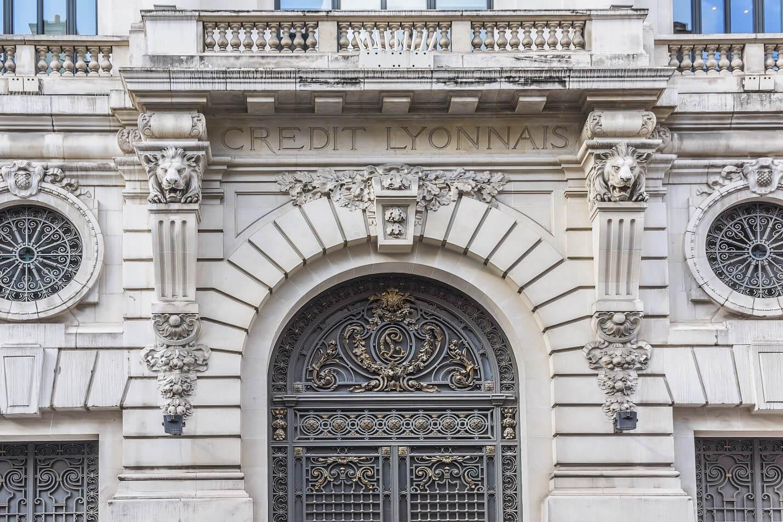 The façade of the Crédit Lyonnais headquarters.