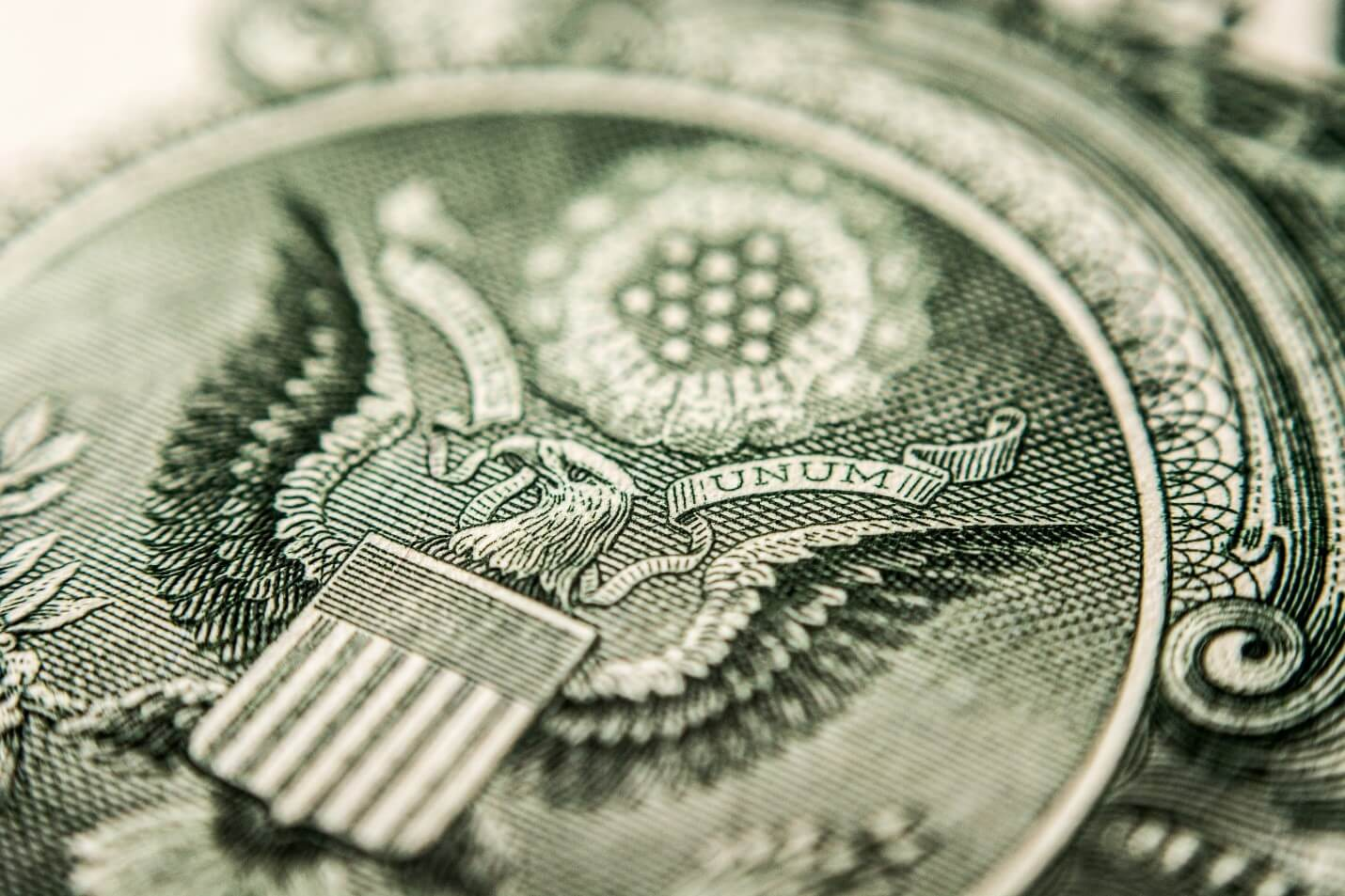 Close up of the US dollar