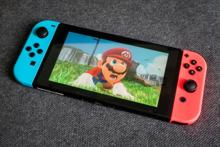 Nintendo Switch showing a shocked Mario