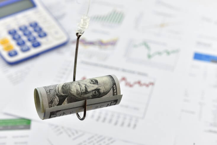forex trading scams – dollar on a hook – finance brokerage