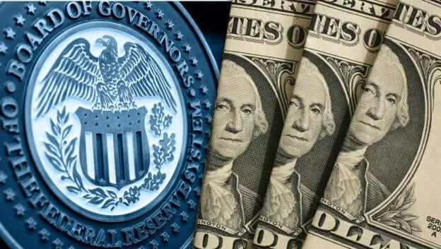 US Federal Reserve Crest alongside US Dollar Bank Notes