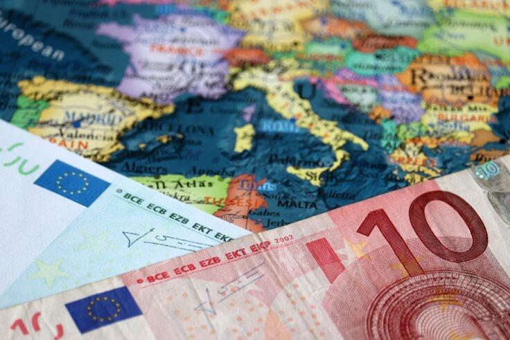 eurozone map and euro bills – finance brokerage
