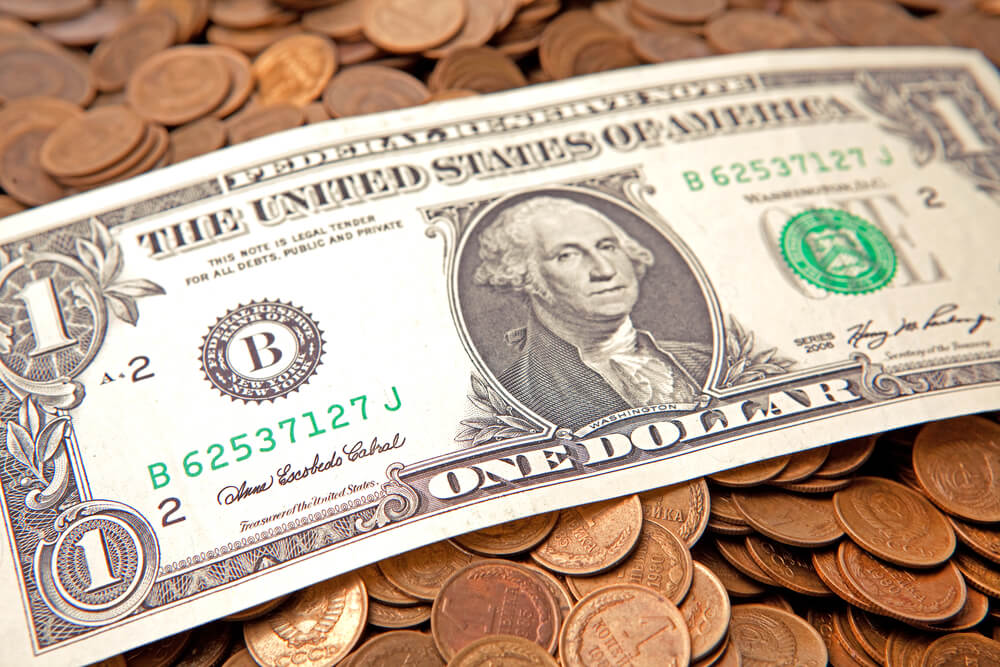 US Dollar Bank Note and Coins