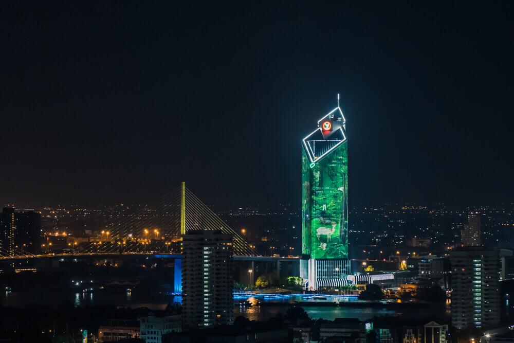 Kbank: A night view of Kasikorn Bank