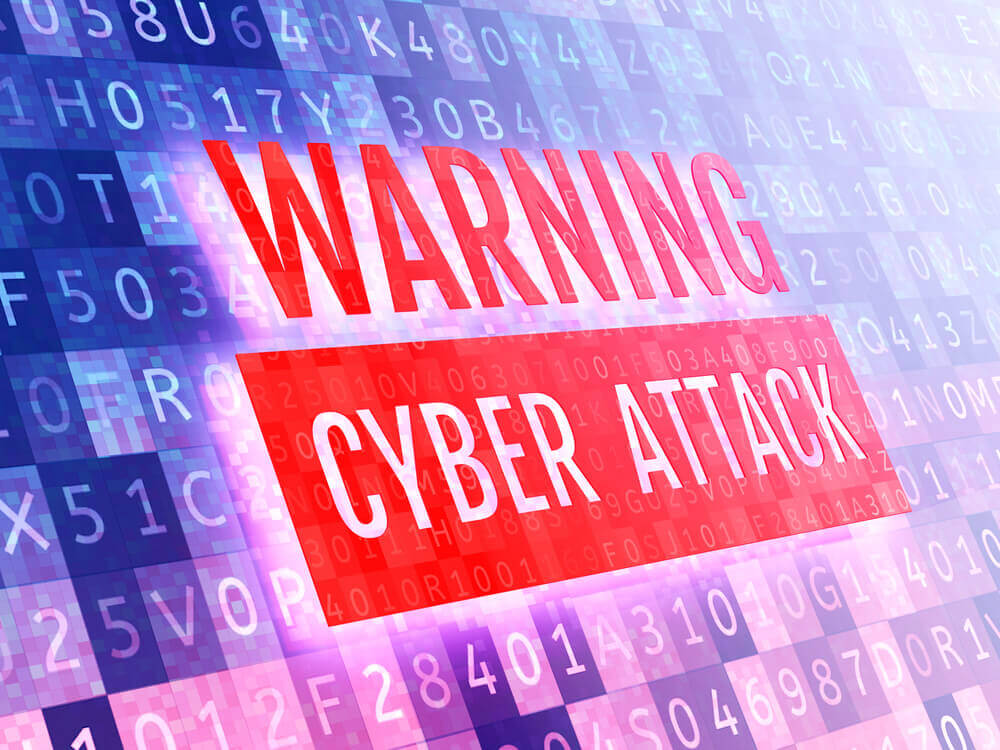 Cyber Attacks: Warning cyber-attack sign on a virtual digital screen.