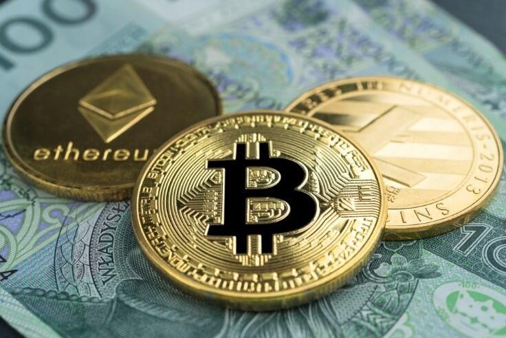 cryptomonnaies :: bitcoin, Ethereum, and Litecoin token concept