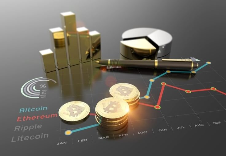 crypto investment concept on graph – finance brokerage
