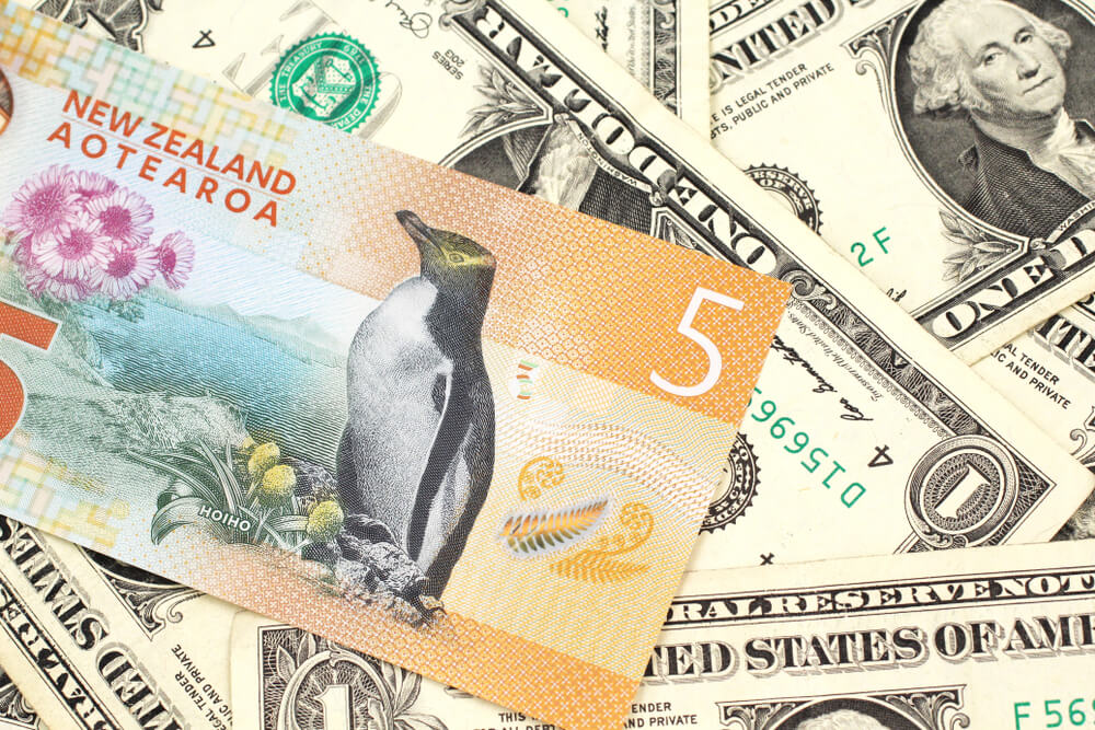 AUD/NZD, Reserve Bank of New Zealand: A close up image of a New Zealand five dollar bill with United States one dollar bills.