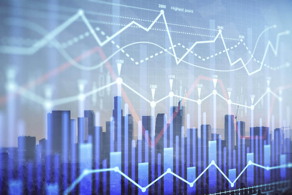 wall street, stock market, The picture displays a forex chart on a cityscape background with skyscrapers wallpaper double exposure.