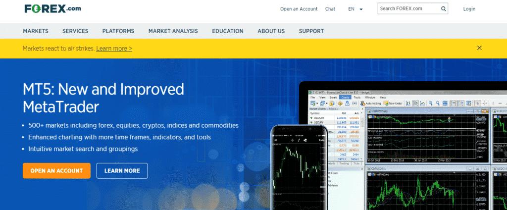 Forex.com Review: broker homepage