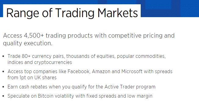 Forex.com: range of trading markets