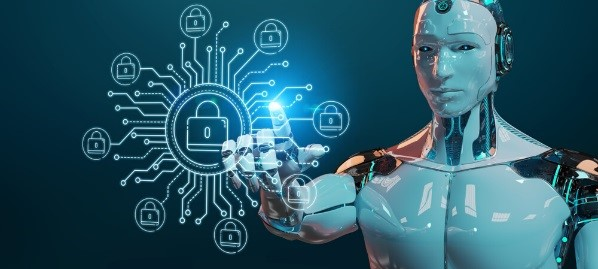 The picture demonstrates a white robot on blurred background accessing private cyber data– Finance Brokerage